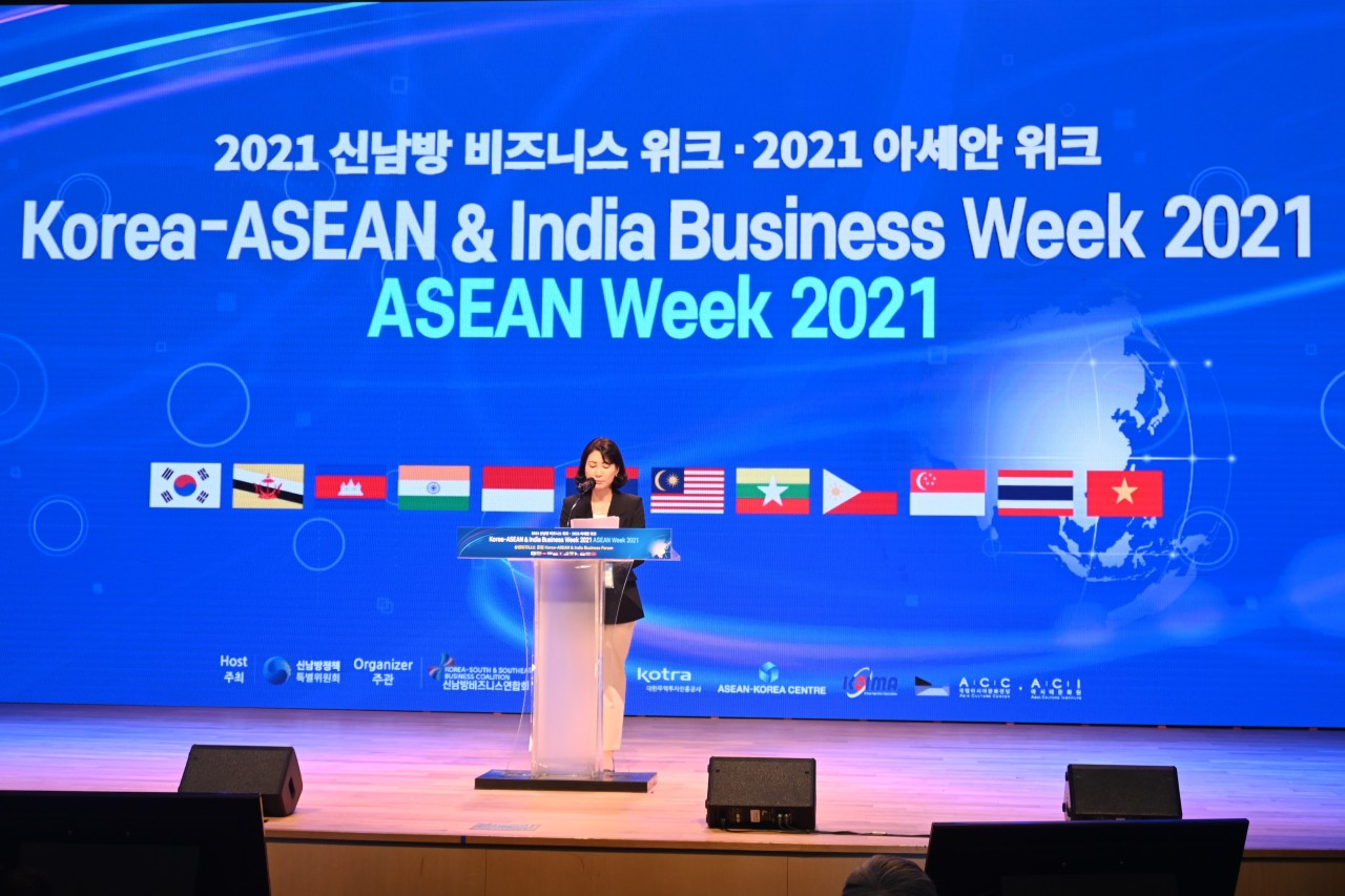 Presidential Committee on New Southern Policy chairperson Nam Young-sook delivers opening remarks at Korea-ASEAN & India Business Week at Coex on Oct. 5.(Sanjay Kumar/Korea Herald)