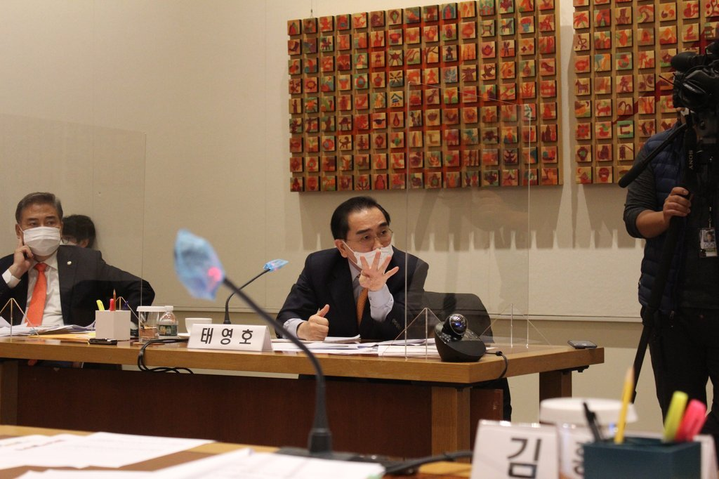 Rep. Tae Young-ho of the main opposition People Power Party speaks during the National Assembly's foreign affairs committee inspection of the South Korean Representative to the United Nations in New York on Monday. (Yonhap)