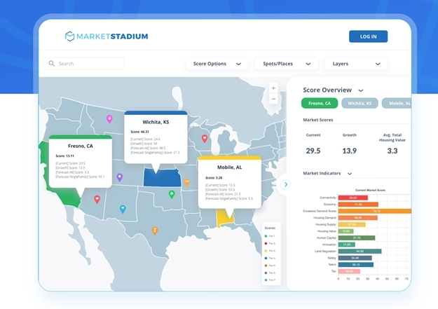 A promotional image of Market Stadium's location analytics service (Market Stadium)