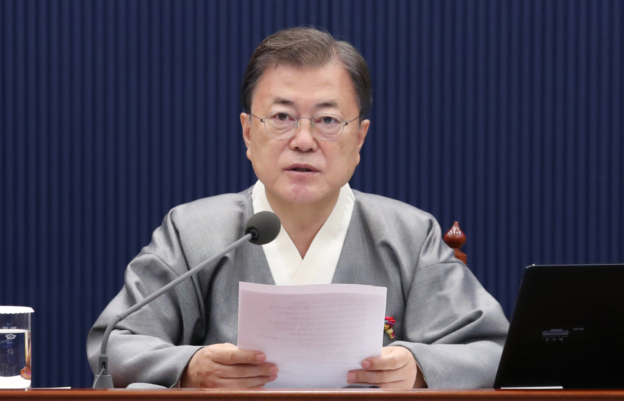 This photo shows President Moon Jae-in speaking at a Cabinet meeting at Cheong Wa Dae in Seoul on Tuesday. (Yonhap)