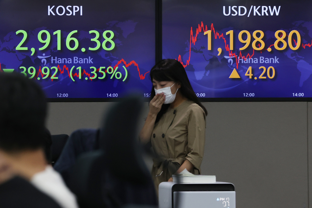 Electronic signs at Hana Bank in Seoul show the benchmark Kospi fell 1.35 percent to 2,916.38 points at the closing bell, while the value of local currency against the US greenback lost to 1,198.8 won per dollar Tuesday. (Yonhap)