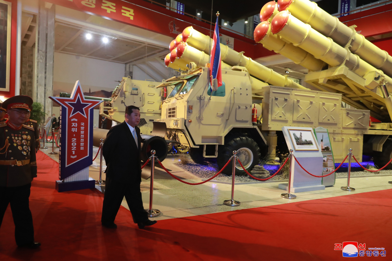 North Korean leader Kim Jong-un inspects a defense development exhibition, Self-Defence-2021, in Pyongyang on Monday, in this photo released by the Korean Central News Agency. (KNCA)