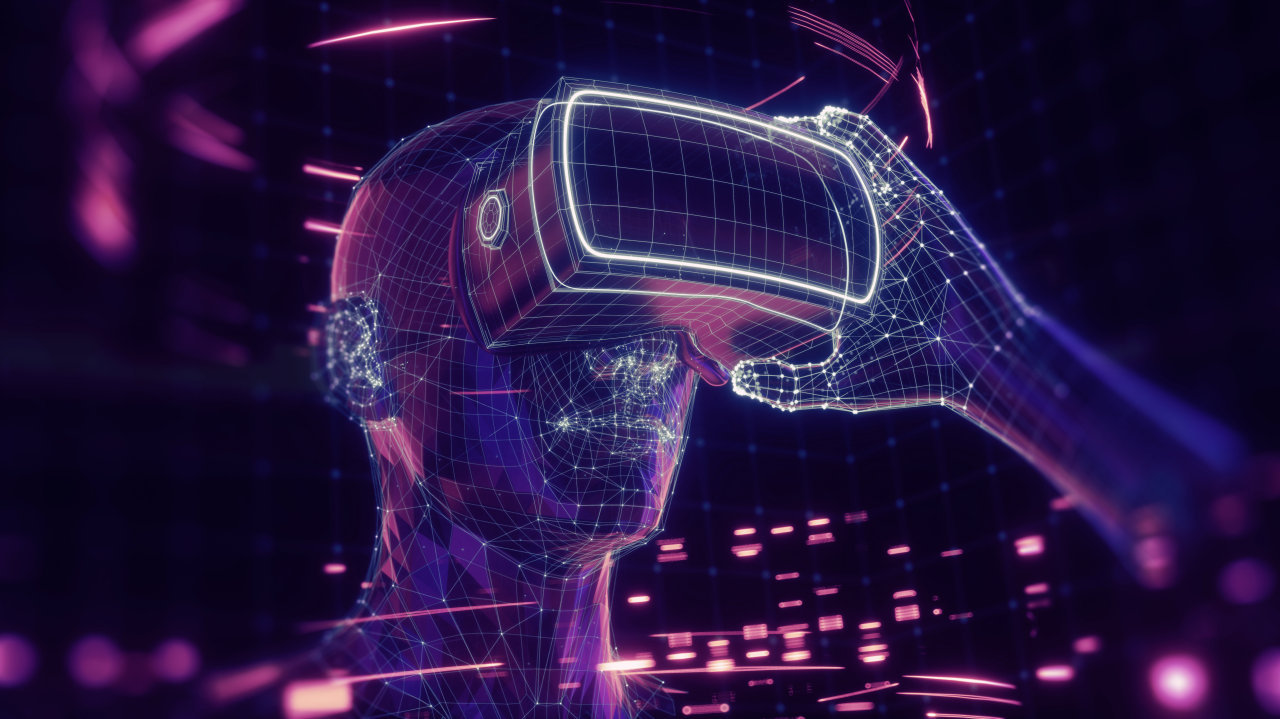 A rendering of a man holding virtual reality glasses (123rf)