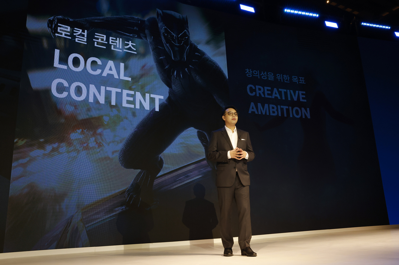 Jay Trinidad, general manager of the direct-to-consumer division in the Asia-Pacific region at Disney, speaks about regional content during an online press conference held Thursday. (Walt Disney Company Korea)