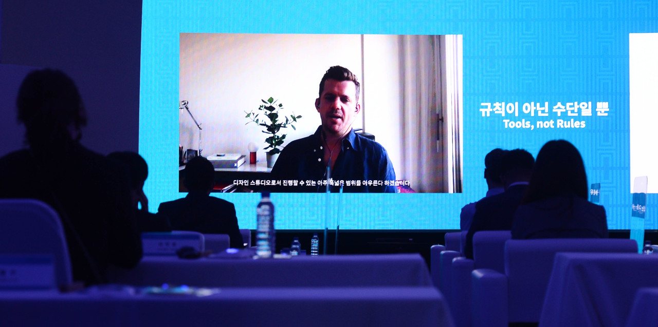 DIA Studio co-founder and creative director Mitch Paone gives online lecture at the Herald DesignForum on Thursday. (Lee Sang-sub/The Korea Herald)