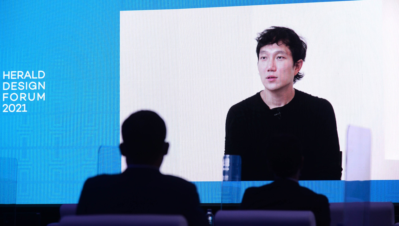 Hermes art director for digital platforms Jeon Sang-hyun gives online lecture at the Herald Design Forum on Thursday. (Lee Sang-sub/The Korea Herald)