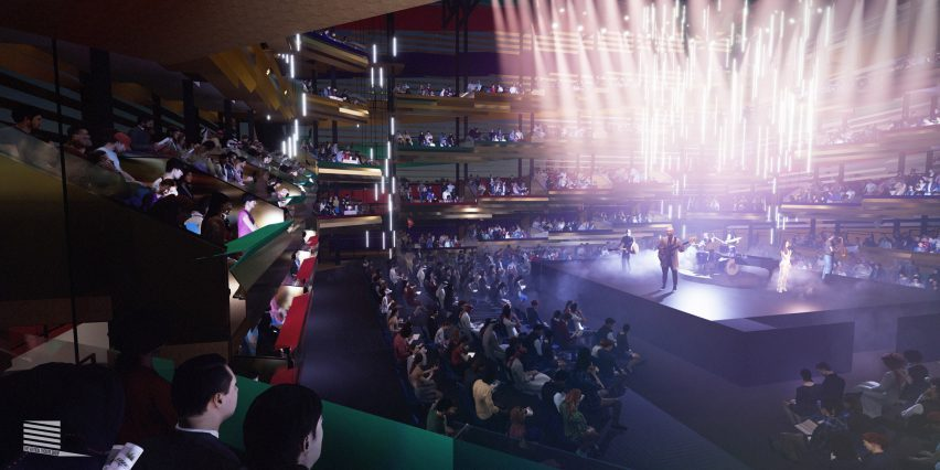A view of the Vertical Theatre (Stufish Entertainment Architects)