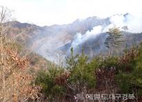 건조한 날씨 봉화·영양지역 산불...