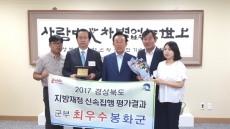 봉화군, 지방재정 신속집행 8년 연속 최우수상 수상