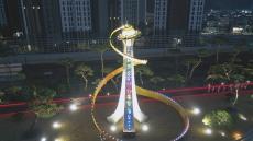 행복도시의 꿈 '조형물' 에 담다...김천시, 만남의 광장 조형물 야간경관조명 점등