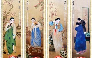 북한 여성 봄~여름~가을~겨울~한복 자태~~