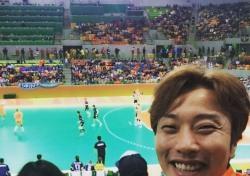 최병철 KBS 해설위원, 여자 핸드볼 응원 인증샷