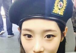 """정채연, 국군의 날 맞아 깜찍한 군복 셀카 """"충성"""""""
