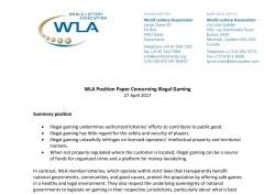 세계복권협회 WLA, 불법도박 근절 위한 성명서 발표