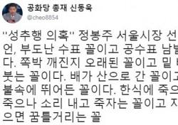 """서울시장 출마 선언 정봉주에 신동욱 """"공수표 남발하는 꼴"""" 왜?"""