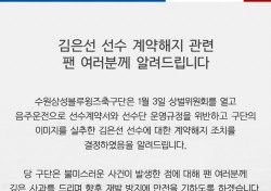 [K리그] 수원삼성 김은선, 음주운전으로 계약 해지