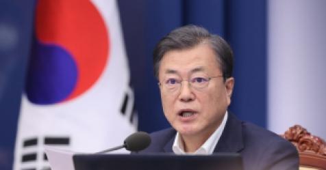 """문대통령 """"경기회복 속 2단계 격상…매우 안타깝고 송구"""""""