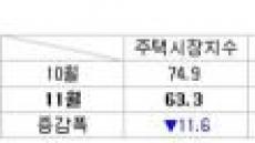 11월 매수세지수 11.6포인트 ↓…매물량지수·가격전망지수도 하락