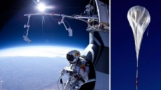 [동영상] 22km 우주 점프 '아찔' 겁없는 스카이다이버 화제