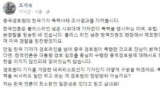 """조기숙 교수, 中경호원 정당방위 주장 사과…""""과도한지 몰랐다"""""""