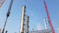 한화토탈, 99m 높이 초대형 빅타워 기립 완료