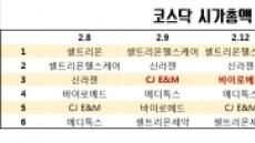 셀트리온 빠진 코스닥 '넘버3' 경쟁…바이오 對 CJ E&M