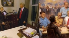 '트럼프, 링컨과 마주앉아 다이어트 코크?'…TV인터뷰에 나온 그림 화제