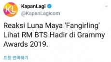 """인도네시아 국민여배우 루나 마야, """"방탄소년단 RM이 너무 귀엽고 섹시하다"""""""
