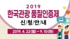 2019 한국관광 품질인증제 인증 신청 22일부터 접수
