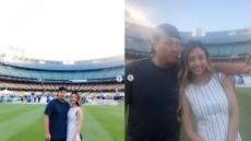 류현진♥배지현, 야구장서 달달한 투샷