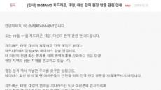 """빅뱅 맴버 잇단 전역…YG """"돼지열병에 현장 방문 자제 부탁"""""""