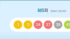 로또885회당첨번호 '1, 3, 24, 27, 39, 45' …1등 명당은?