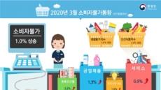 [코로나19 팬데믹] 3월 소비자물가 1.0%…3개월 연속 1%대 유지