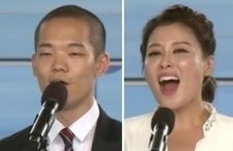 '독립유공자 후손' 이정현·홍지민, 광복절 경축식서 애국가 제창