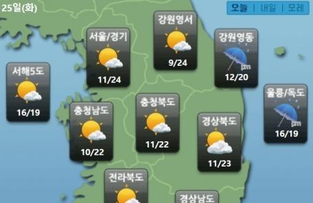 쌀쌀한 오늘 아침…서울 최저 10.8도 '전날보다 3.4도↓'