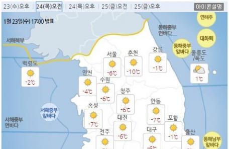 [날씨&라이프] 내일 출근길 한파 몰아친다…아침 최저 -13도