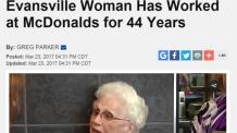 """44년간 맥도날드에서 일한 94세 할머니 """"매일 맥도날드 먹어"""""""