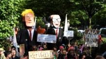 트럼프, '지옥'이라고 비판했던 브뤼셀 방문…9천명 항의 시위
