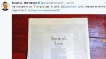 작심한 NYT '트럼프의 거짓말' 전면 광고