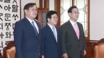 """박병석 의장, 與野 원내대표와 만찬…""""원 구성 진척은 없어..."""