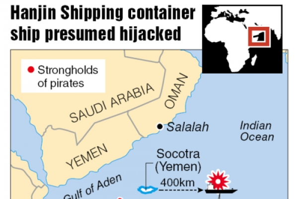 S. Korean container likely hijacked by Somali pirates: ministry