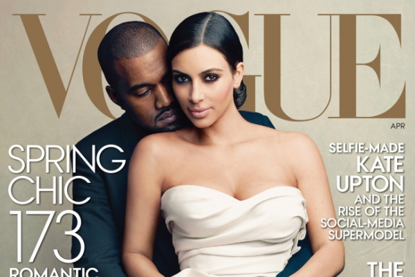 Kim Kardashian and Kanye West on Vogue cover