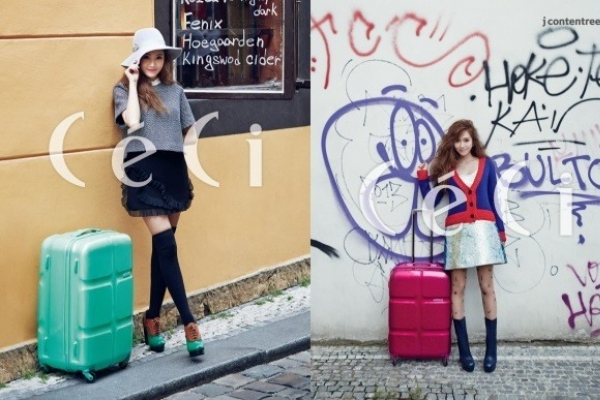 Jessica shows off cute traveler's look