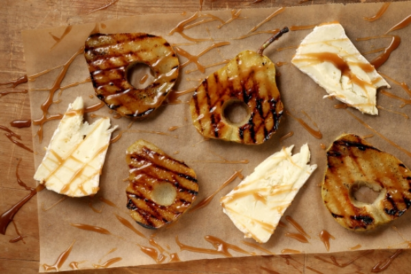 Brillat-Savarin cheese makes a buttery companion to grilled pears