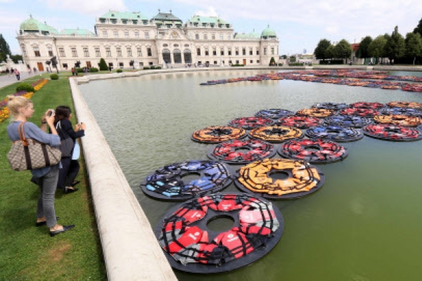 Ai Weiwei's refugee life jackets in Vienna palace pond