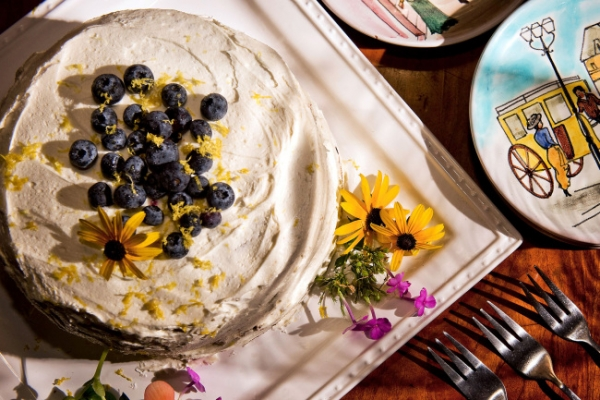 Blueberries plus zucchini make for awesome cake