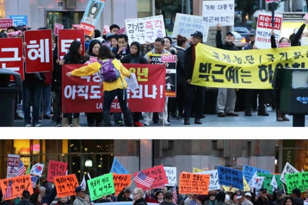 Korean-Americans hold rallies demanding Park resign