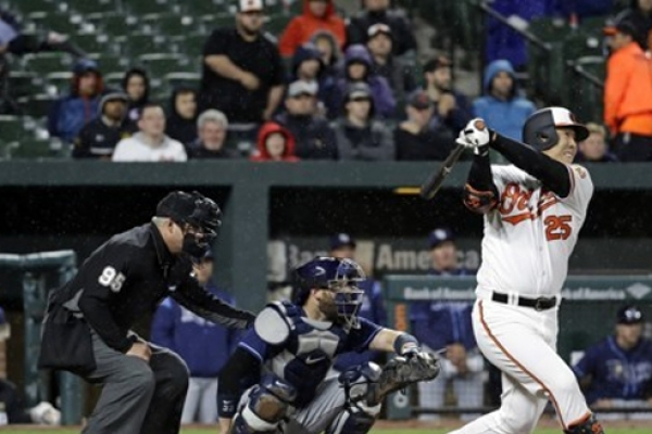Orioles' Kim Hyun-soo blasts his 1st homer of season