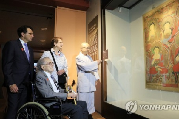 Stolen Buddhist painting exhibited to public after discovery in US