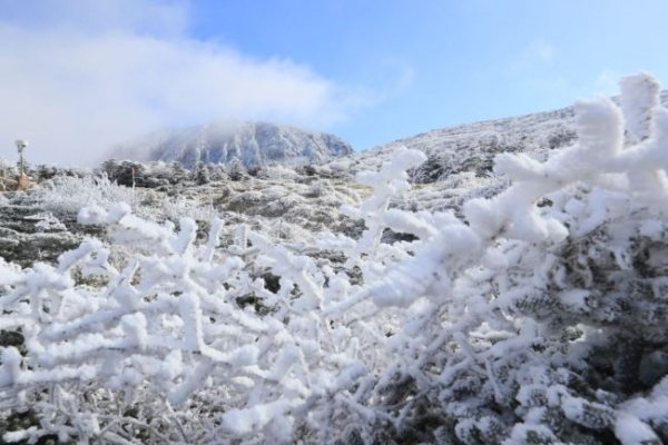 [Photo News] Hallasan peaks blanketed with first snow of season